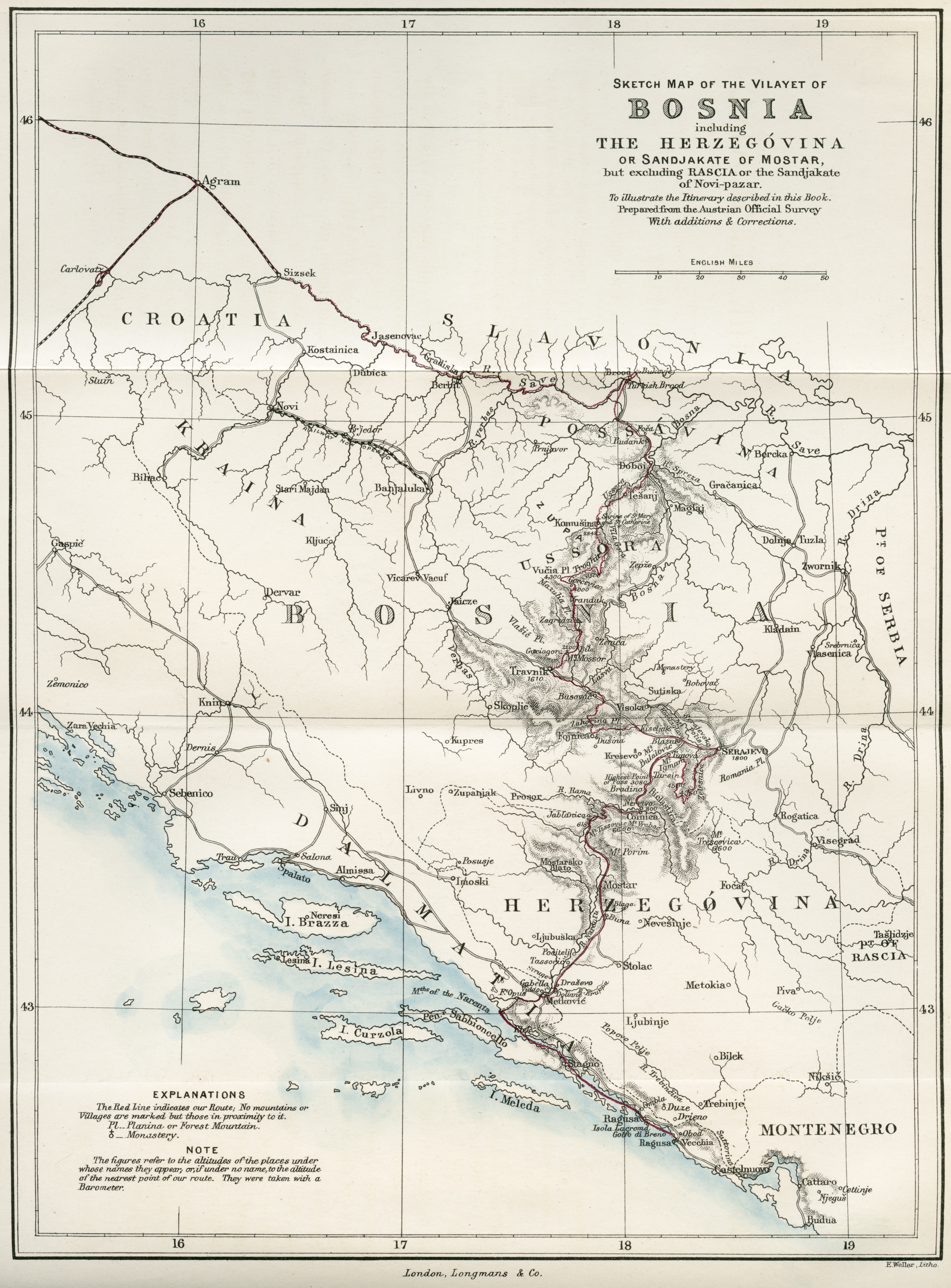 Map of Bosnia and Herzegovina (1875)   cabinet Map Bosnia Herzegovina on croatia map, luxembourg map, eritrea map, bulgaria map, srebrenica massacre, monaco map, serbia map, austria map, iran map, bosnian war, vatican city map, turkey map, estonia map, albania map, slovakia map, slovenia map, republika srpska, macedonia map, hungary map, ukraine map, kosovo map, republic of macedonia, san marino map,
