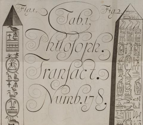 Image for 'An Explanation of the Cutts of two Porphyry Pillars in Aegypt', in Philosophical Transactions, no. 178 (London, December 1685)